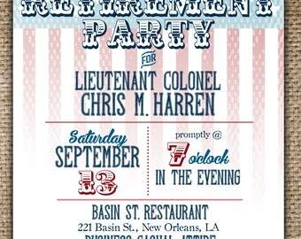 Retirement Party Invitation : Vintage American Flag Military Theme