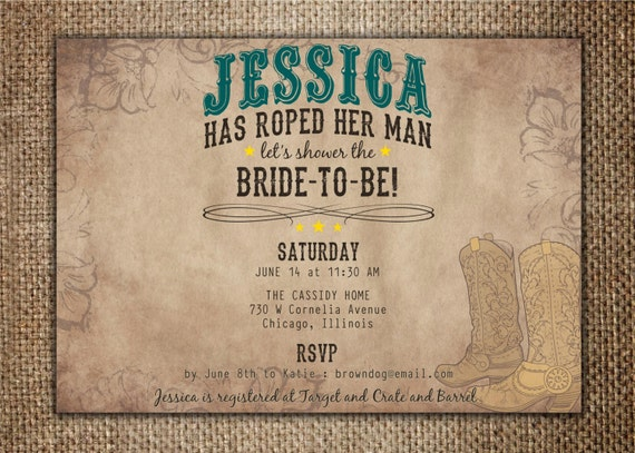 Wedding Invitations Country Theme: Bridal/Wedding Shower Invitation : She's Roped Her Man
