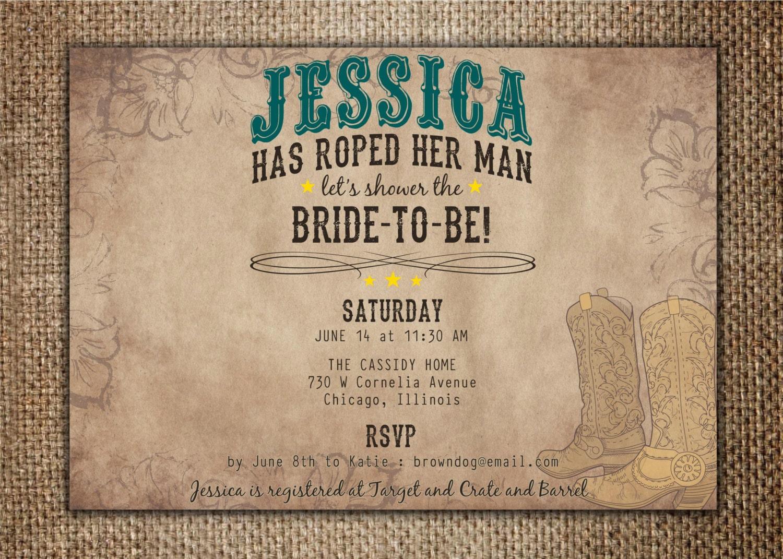 Bridal wedding shower invitation she39s roped her man for Man wedding shower invitations