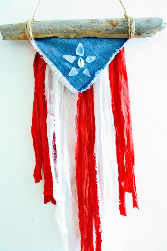 Puerto Rican Natural Driftwood Flag with Sea Glass, Cowrie Shell, Indian Saris, Recycled Jeans