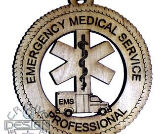 Emergency Medical Service Hanger  laser cut wooden EMS FIRE DEPARTMENT