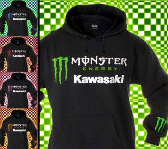 new monster energy kawasaki black hoodie by hoodiesandtees. Black Bedroom Furniture Sets. Home Design Ideas