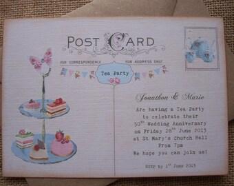 Custom tea party invitation, printable tea party invite, digital tea party invite, personalised tea party invitation, you print, 7x5