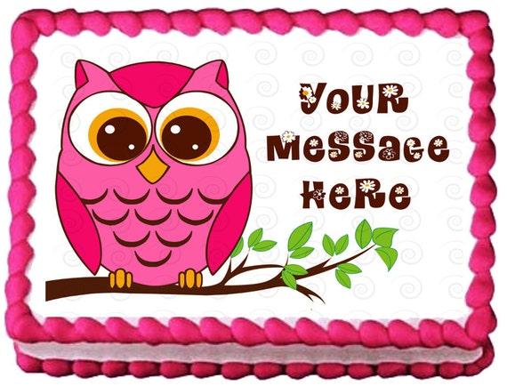 Edible Cake Image Owl : PINK OWL Edible image cake topper 1/4 quarter by ...