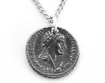 Egyptian Queen Cleopatra and Anthony Coin Necklace, English Pewter, Handmade, wa