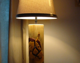 Horse Lamp handcarved