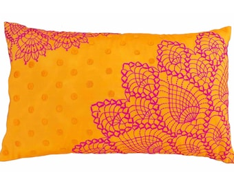Crochet pattern embroidered pillow, Orange and pink, Polytafetta pillow cover, size 12X20 inch throw pillow