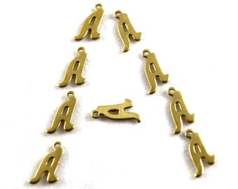 """5x Letter """"A"""" Brass Initial Charms - M071-A"""