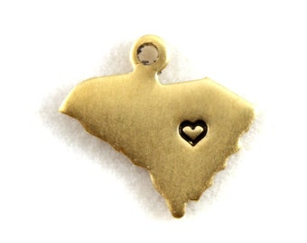 2x Brass South Carolina State Charms w/ Hearts - M073/H-SC