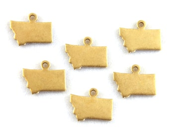 6x Blank Brass Montana State Charms - M073-MT