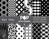 Black White digital paper, Black & White scrapbook paper, Floral digital paper, Wood textures, Linen texture, polka dots, Commercial use
