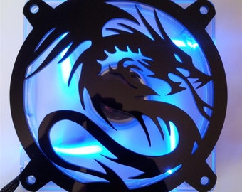 Custom FLAYING DRAGON Computer pc Fan Grill Gloss Black Acrylic Cooling Cover Mod