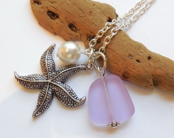 Light Purple Sea Glass Necklace, Charm necklace, Pearl, Starfish Necklace, bridesmaid necklace, beach wedding. FREE SHIPPING within the U.S.