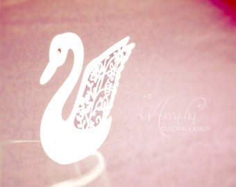 10 pcs Swan Silhouette Place Cards, Wedding Reception Decoration,  Escort card, Wine Glass Name Card, Party Guest name card.
