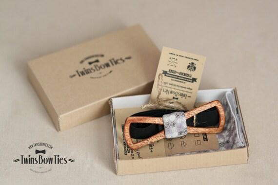 Mens wooden bow tie Fresh Vadim Slim + pocket square. 100% handicraft / Unique wood bow tie by TwinsBowTies