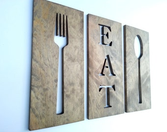 24'' Kitchen Art Fork Spoon And Eat  Wooden Plaques Home Decor Carved Modern Wall Art