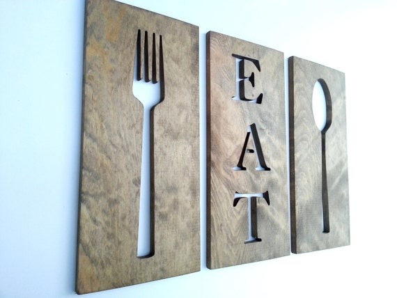 Wood Wall Decor For Kitchen : Kitchen art fork spoon and eat wooden by timberartsigns