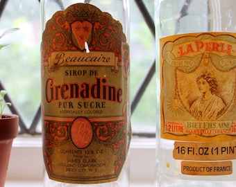 1950s Bottles with Paper Labels: Grenadine, Olive Oil