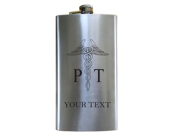 Personalized Engraved PT, Physical Therapy 12 Oz Stainless Steel Pocket Hip Flask