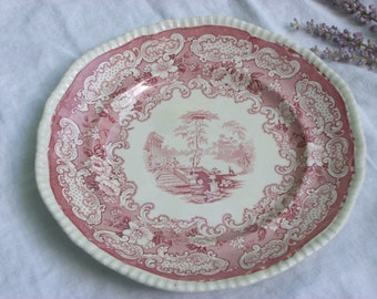 "Plate - Red Transferware - ""Athena"" - English - Display Plate - Vintage"