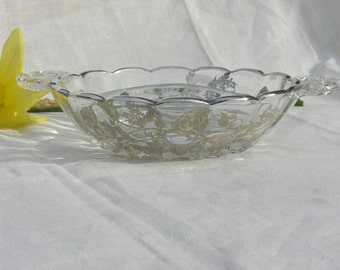 Dish - Divided Dish - Glass with Silver Overlay - New Martinsville Glass - Poppies - Vintage