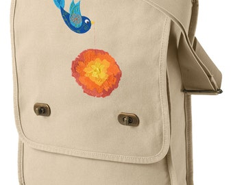 Tweet Marigold Embroidered Canvas Field Bag