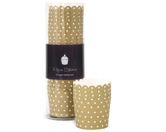 Paper Baking Cups - Cupcake Liners - Gold Dots