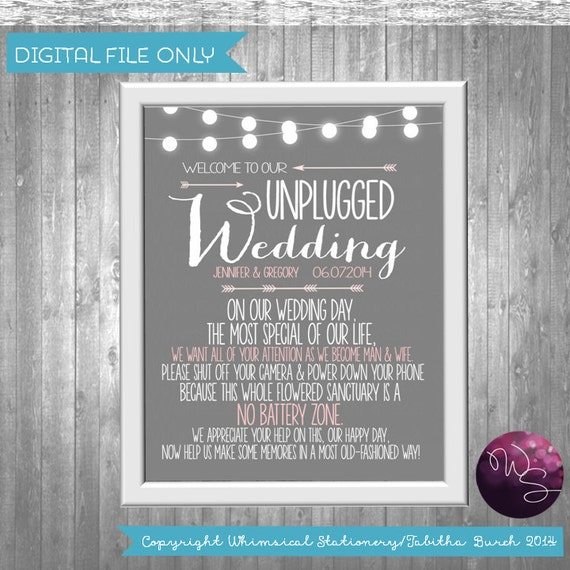 Unplugged Wedding Sign (Printable File Only) Elegant Fun Bridal String Lights; DIY Wedding Sign