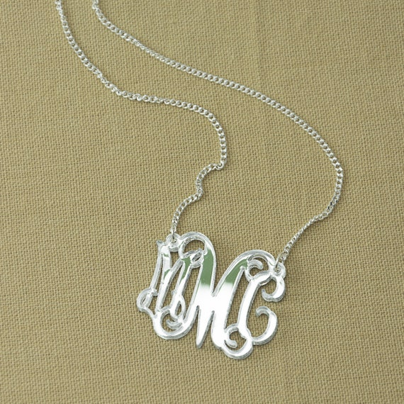 "Silver Mirror Monogram 1.5"" Necklace - Handmade monogram"