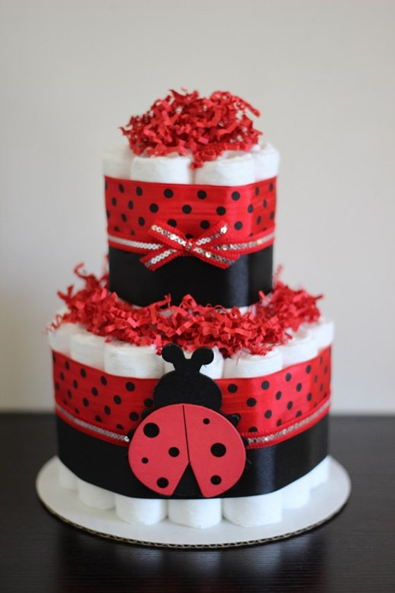 2 Tier Mini Ladybug Diaper Cake Lady Bug Baby Shower Girl