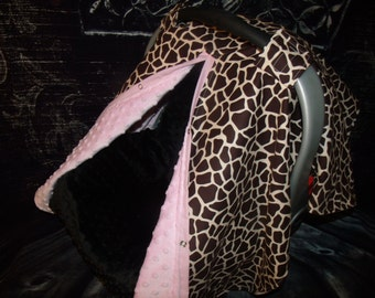 Carseat Canopy Minky Giraffe Blanket Cover car seat cover nursing cover car seat canopy