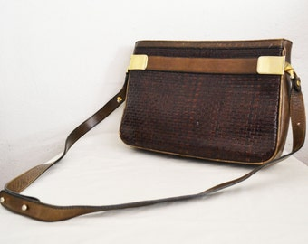 Free Ship Umberto Firenze Weaved Leather Purse Shoulder Bag green brown