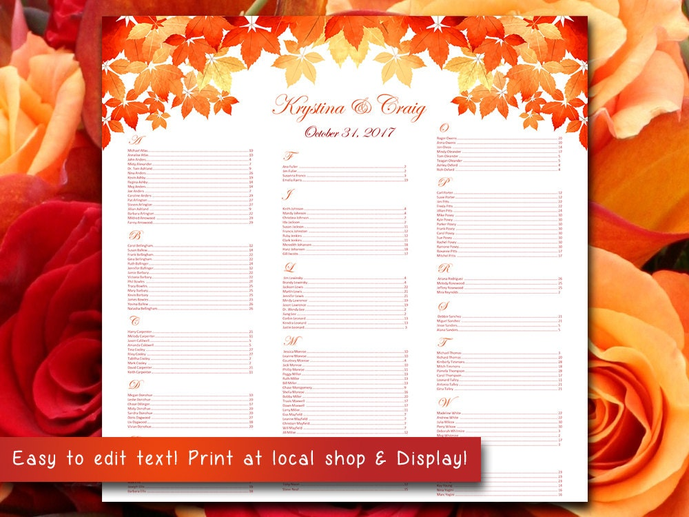 autumn wedding seating chart template watercolor fall leaves red burnt orange microsoft word template