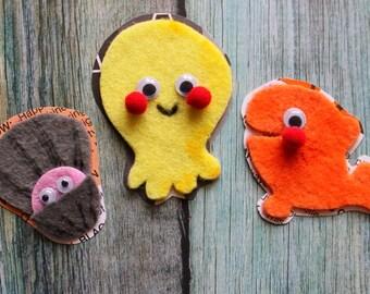 Scrapbook Embellishments - 3 SEASIDE CUTIES - Felt Cartoon Cuties - Seaside, Beach, Felt Animals, Clam, Jellyfish, Fish, Cartoon Art, Party