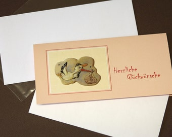 """Congratulations card, birth card, """"Storch"""" for girls"""