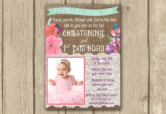 Sample invitation for christening and first birthday first birthday and baptism invitation wording choice image stopboris Images