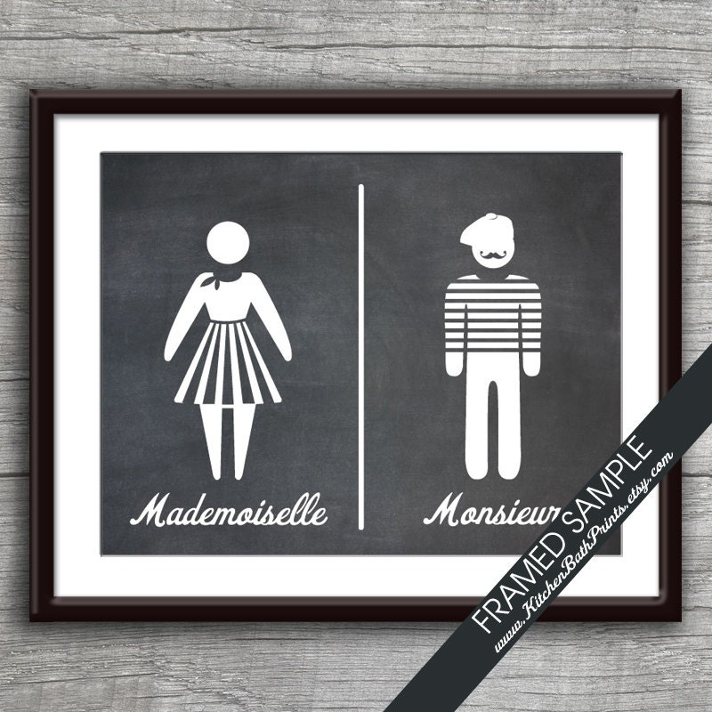 Bathroom Sign Art mademoiselle and monsieur art print featured in vintage