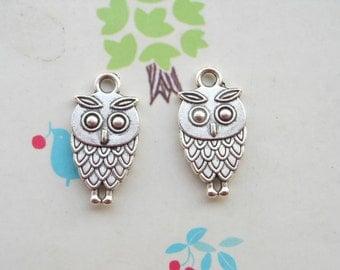 50 PCS 9x15mm Lovely The little owl Charm Pendant --Double owl Antique Silver