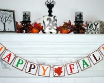HAPPY FALL BANNER Thanksgiving Banners  Fall Colors - Fall Decoration Banners