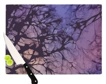 """Cutting Board - Alison Coxon """"Violet Skies""""  Kess Inhouse Purple Great Hostess Gift - Also Matching Table Runner, place mats, Mugs, Pillows"""