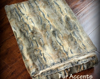 FUR ACCENTS Minky Cuddle Fur Throw  Blanket / Reversible / Gray and Brown Tones