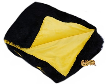 FUR ACCENTS Fan Fur Faux Fur Bedspread / Comforter / Black with Gold Minky Lining