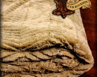 FUR ACCENTS Minky Cuddle Fur Bedspread / Throw Blanket / Tan Chenille