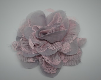 "Two Pink & Gray 3.75"" Fabric flowers - Lace Flowers - shredded lace flower - chiffon flower - lace rose - wholesale - Supply - DIY"