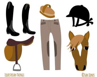 Equestrian Clip Art - Horseriding Clip Art - Horse Clip Art  - Illustration