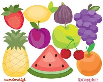 Fruits Clip Art - Summer Fruit Icons Set - Teacher Clip art