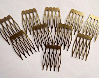 Bronze Hair Combs, 10 or 25, Metal Hair Combs, Small Hair Comb, Hair Accessories, Bronze Tone Combs, Bridal Supplies, Bronze Hair Slide, UK