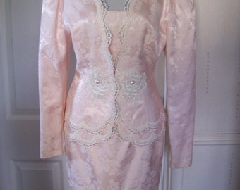 Scott McClintock Authentic Vintage Stunning Pale Pink/Cream Lace Special Occasion Outfit Sz 8