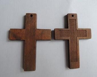 6 Pcs 57x40mm Brown Wood Cross (W811)