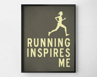 Running Print, Fitness Art, Typography Poster, Inspirational Print, Running Poster, Motivational Art, Marathon Fitness, Exercise Art, 0270